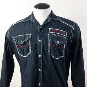 P22 Affliction Black Embroidered Pearl Snap Shirt